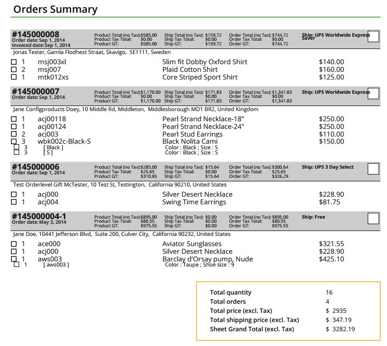 Lista de productos magento separada por pedidos