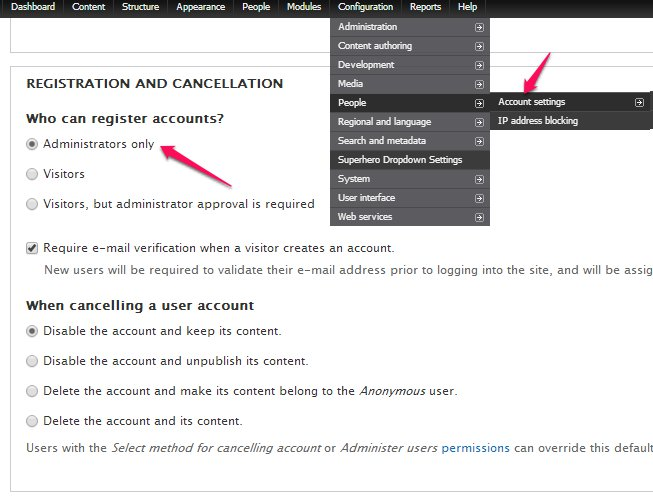 Evitar registro de usuarios en drupal
